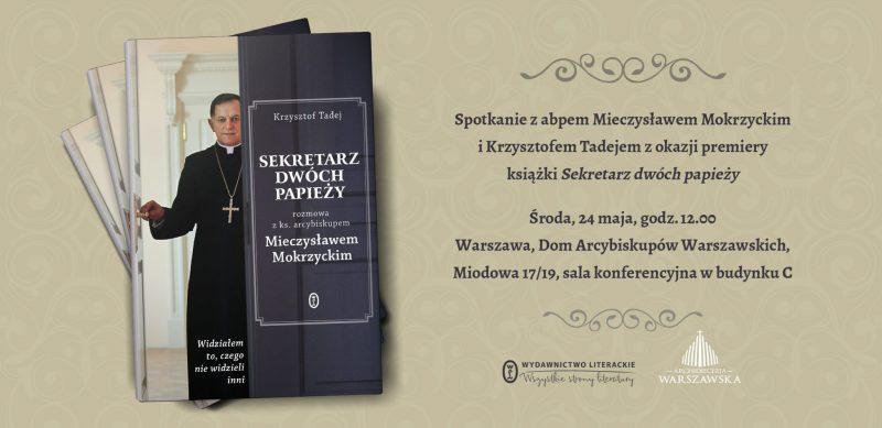 Plakat spotkanie autorskie z abp Mokrzyckim i Krzysztofem Tadejem