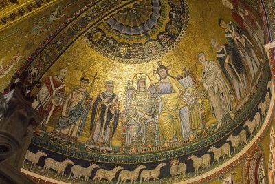 Mozaika Maryi i Chrystusa w apsydzie bazyliki na Zatybrzu